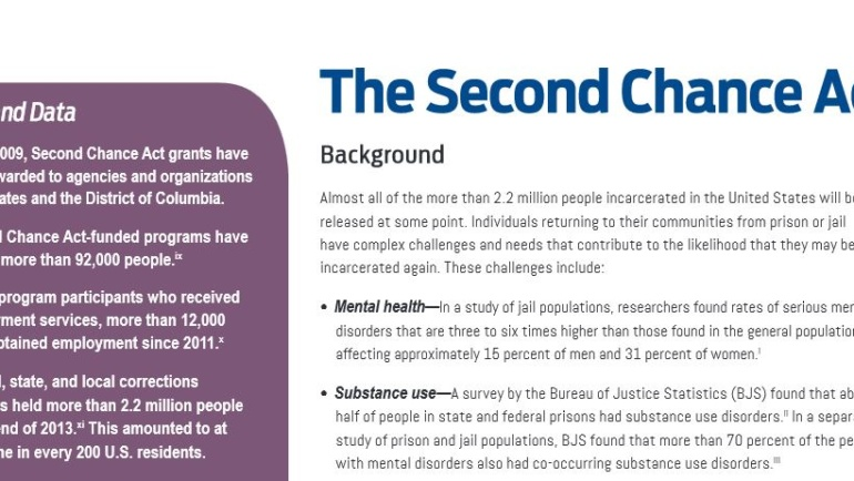 The Second Chance Act Fact Sheet