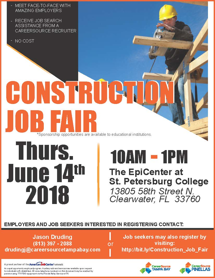 statewide construction job fair flyer pinellas county ex offender